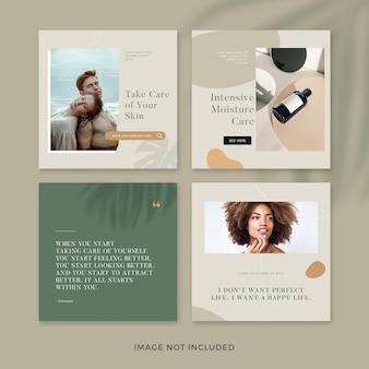 Conjunto de publicaciones de instagram de productos para el cuidado de la piel
