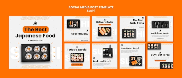 Conjunto de publicaciones de instagram de restaurante de sushi