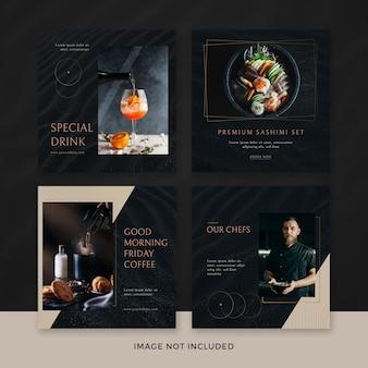 Conjunto de publicaciones de instagram de restaurante