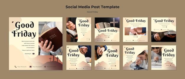 Conjunto de publicaciones de instagram de viernes santo