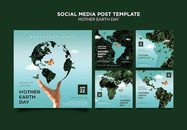 Conjunto de publicaciones en redes sociales del día de la madre tierra.