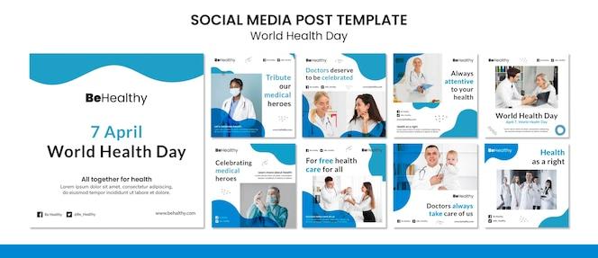 Conjunto de publicaciones en redes sociales del día mundial de la salud.