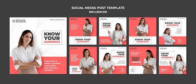 Conjunto de publicaciones de redes sociales de influencers