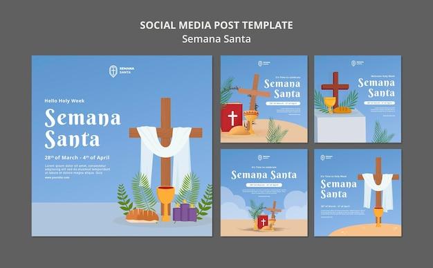 Conjunto de publicaciones de redes sociales de semana santa
