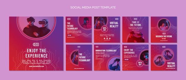 Conjunto de publicaciones de redes sociales de tecnología.