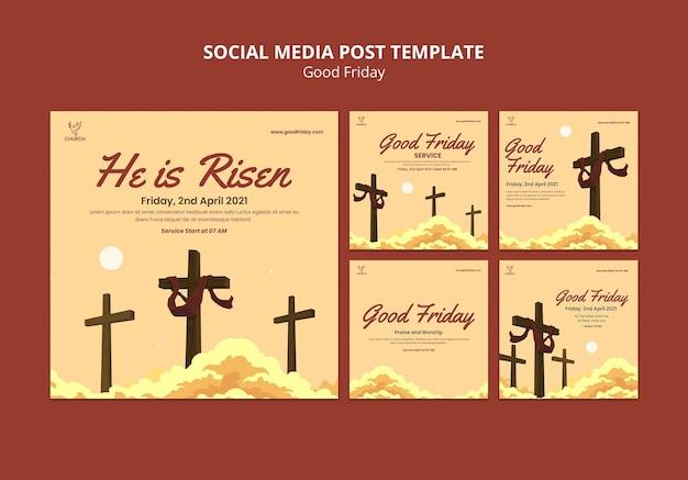 Conjunto de publicaciones de redes sociales de viernes santo
