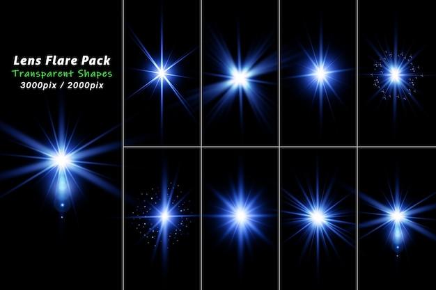 Conjunto realista de destello de lente de luz azul centelleante aislado