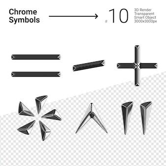 Conjunto renderizado en 3d de símbolos de cromo plateado igual menos más asterisco, carátula y cotización