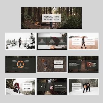 Conjunto de reporte anual con concepto de naturaleza