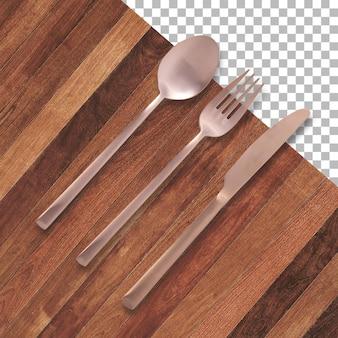 Conjunto de tenedor, cuchillo y cuchara aislado en transparencia
