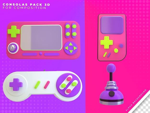 Consolas pack 3d render voor compositie
