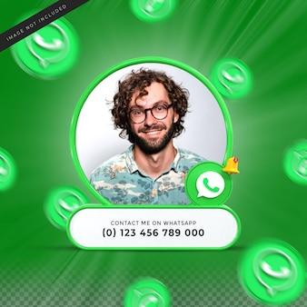 Contácteme en las redes sociales de whatsapp, tercio inferior, diseño 3d, renderizado, icono de banner, perfil
