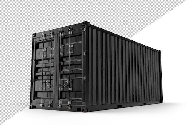 Contenedor de carga de envío negro realista. aislado. representación 3d