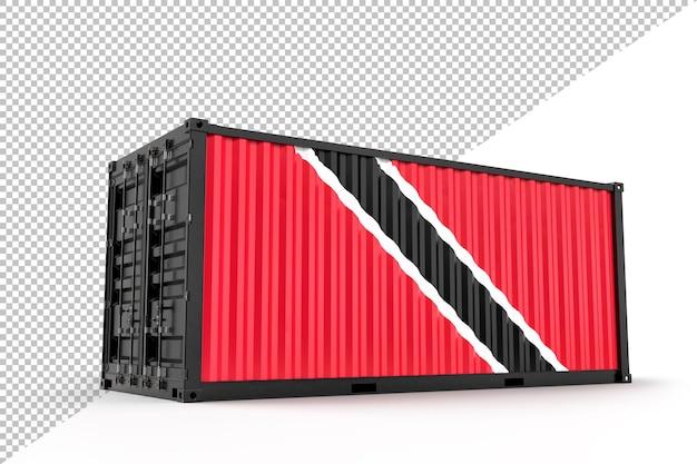 Contenedor de carga de envío realista con textura con la bandera de trinidad y tobago. aislado. representación 3d