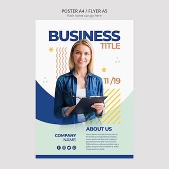 Contenido de mujer de negocios para plantilla de póster