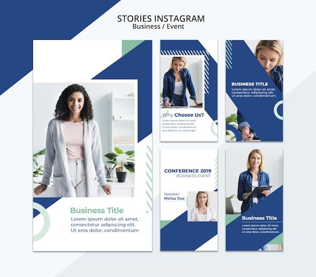 Contenuti di storie di instagram con modello di donna d'affari