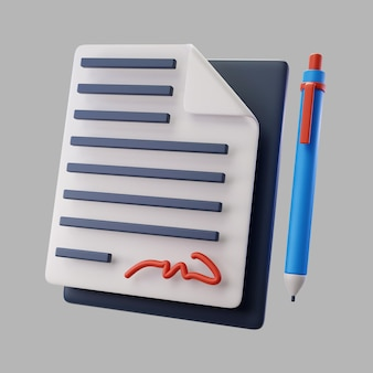 Contrato 3d con bolígrafo y firma