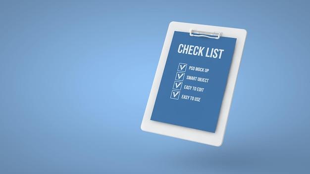 Controleer lijst mockup-ontwerp geïsoleerd