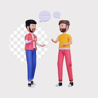 Conversación 3d entre dos personajes masculinos.