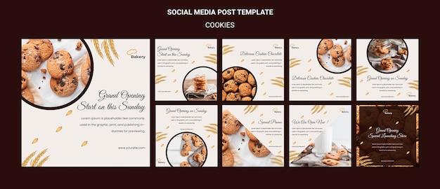 Cookies slaan een postsjabloon voor sociale media op