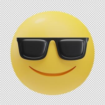Cool gezicht emoji 3d illustratie