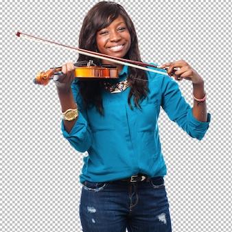 Cool mujer negra tocando violin