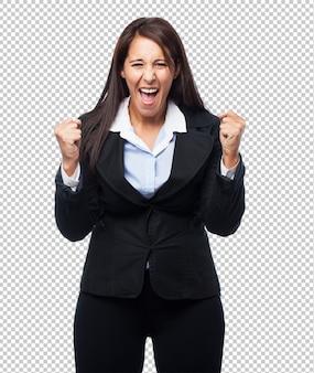 Cool zakenvrouwwinnaar teken