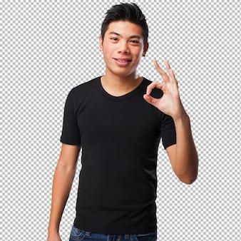 Coole chinese man, ok gebaar