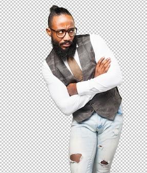 Coole zwarte man op zoek