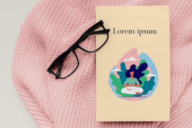 Copertina di libro minimalista piatto laico mock-up