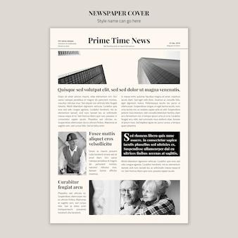 Copertina di un giornale in bianco e nero