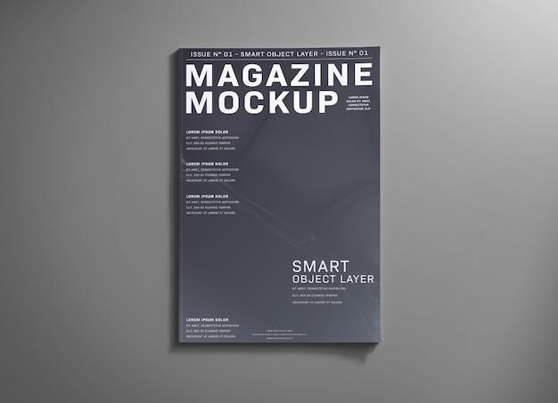 Copertina di una rivista su mockup grigio