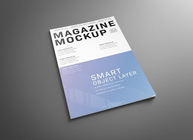Copertina di una rivista su superficie grigia mockup