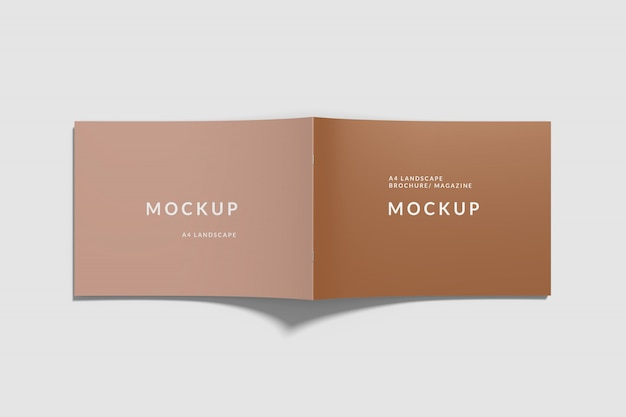 Copertina landscape book mockup top view