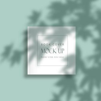 Copertina minimale modificabile mock up con sovrapposizione di foglie d'ombra