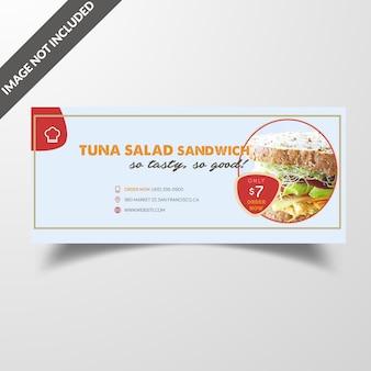 Copertina per social media di cibo ristorante e modello di post
