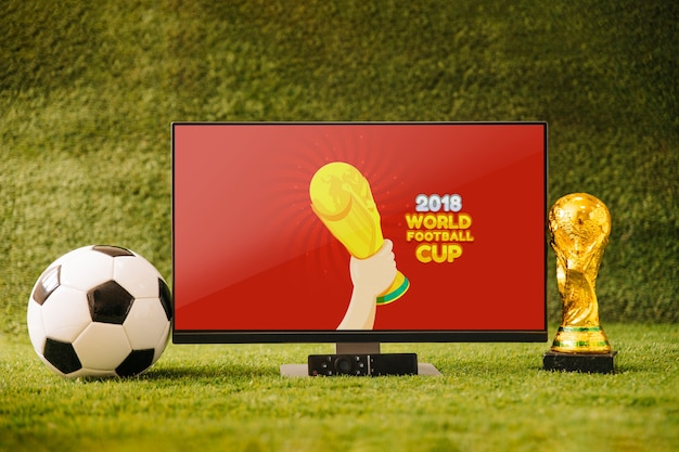 Coppa del mondo di calcio mockup con tv
