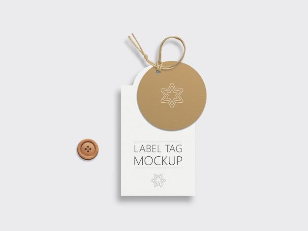 Coppia di mock-up tag etichetta di carta di moda