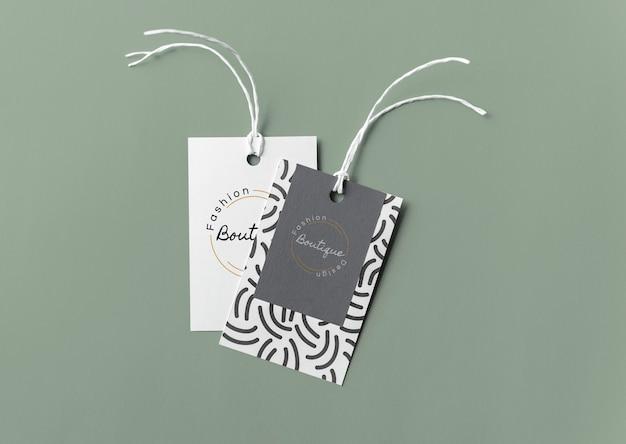 Coppia di mockup di tag etichetta di moda