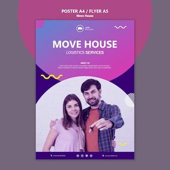 Coppia in movimento in un nuovo modello di poster per la casa