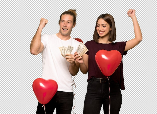 Coppia nel giorno di san valentino prendendo un sacco di soldi