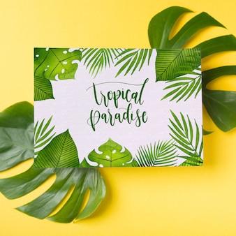 Coprire il mockup sulle foglie di palma