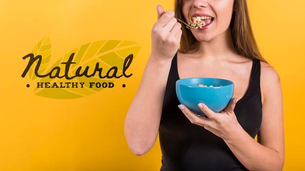 Copyspace mockup con il concetto di cibo sano