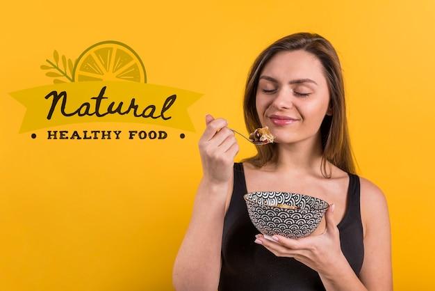 Copyspace-mockup met gezond voedselconcept
