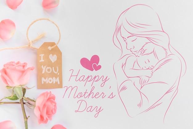 Copyspace-mockup met vlakke lay-de samenstelling van de moedersdag