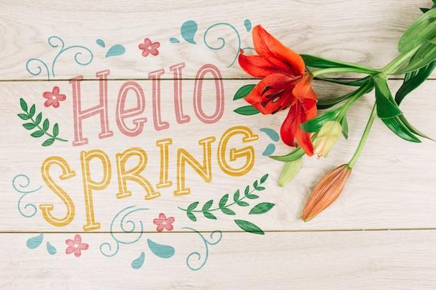 Copyspace piatta laici con il concetto di primavera