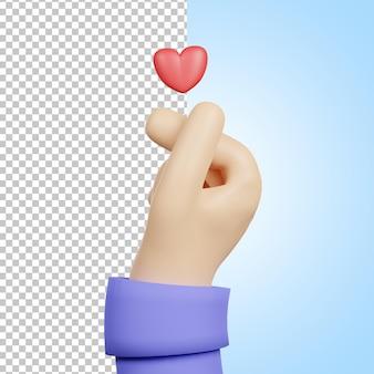 Corazón de dedo 3d con amor