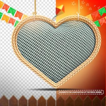 Corazón de textura de tela de render 3d con banderas de cuerda para festa junina
