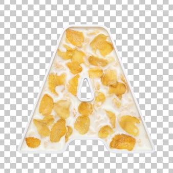 Cornflakes granen met melk in letter a kom
