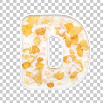 Cornflakes granen met melk in letter d kom